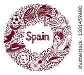 round composition with spanish... | Shutterstock .eps vector #1301459680