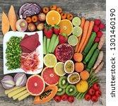 healthy diet food concept with... | Shutterstock . vector #1301460190