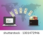 monitor with dollars  concept... | Shutterstock .eps vector #1301472946