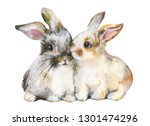 Stock photo cute pair of rabbits on white background mixed media watercolor pastel pencils gouache 1301474296