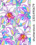 colorful paisley and flower ... | Shutterstock . vector #1301490679