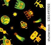 seamless sci fi pattern.... | Shutterstock .eps vector #1301495503