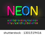 neon font  modern alphabet... | Shutterstock .eps vector #1301519416