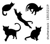 Stock vector set of vector cat silhouettes 130152119