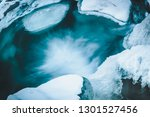 Winter Mountain River Under Ic...