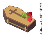 coffin and rose | Shutterstock .eps vector #1301530789