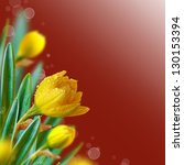 Beautiful yellow flowers on a red with bokeh. Floral background. - stock photo