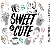 cute hand drawn monochrome... | Shutterstock .eps vector #1301549323