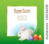 easter frame rabbit and eggs in ... | Shutterstock .eps vector #130156538