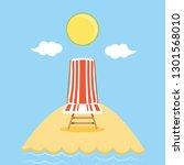 seascape beach with chair scene | Shutterstock .eps vector #1301568010