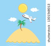 seascape beach with airplane... | Shutterstock .eps vector #1301568013