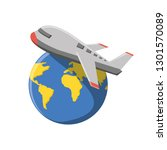 world planet earth with airplane | Shutterstock .eps vector #1301570089