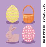 cute rabbit with decorated eggs ... | Shutterstock .eps vector #1301573350