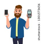 man showing or holding a mobile ... | Shutterstock .eps vector #1301573656