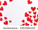 Stock photo frame of red paper hearts with space for text the centre on white background flat lay top view 1301584120