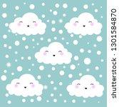 cute cartoon face cloud... | Shutterstock .eps vector #1301584870
