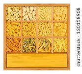 choice of different noodles in shadowbox - stock photo
