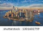 Manhattan financial disctrict skyscrapers skyline                   - stock photo