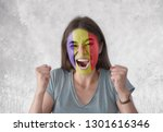 young woman with painted flag...   Shutterstock . vector #1301616346