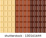 three different bars of chocolate - stock photo
