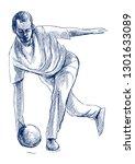 bowling   an sportman. an hand... | Shutterstock . vector #1301633089