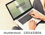 man use computer  blur image of ... | Shutterstock . vector #1301633836