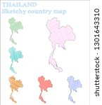thailand sketchy country. cute... | Shutterstock .eps vector #1301643310