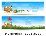 Easter Banners With Easter Egg...