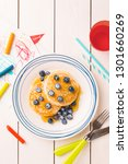 kid's breakfast meal   pancakes ... | Shutterstock . vector #1301660269