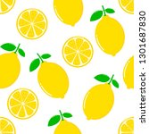 lemon slices seamless pattern... | Shutterstock .eps vector #1301687830