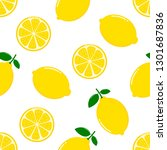 lemon slices seamless pattern... | Shutterstock .eps vector #1301687836