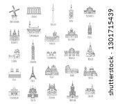 set of 25 hand drawn landmarks...   Shutterstock .eps vector #1301715439
