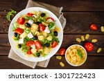 italian pasta salad with fresh... | Shutterstock . vector #1301722423