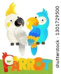 cartoon scene with happy parrot ... | Shutterstock . vector #1301729500