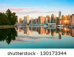 Stock photo beautiful view of vancouver skyline with stanley park at sunset british columbia canada 130173344
