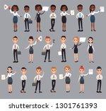girl man office documents...   Shutterstock . vector #1301761393