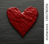 red heart on rough slate like... | Shutterstock . vector #1301780356