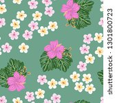 tropical pattern with hibiscus...