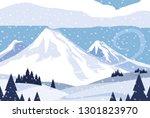 snowscape nature scene icon | Shutterstock .eps vector #1301823970