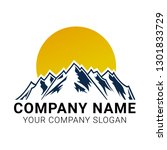 mountains logo design vector... | Shutterstock .eps vector #1301833729