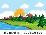 a simple nature landscape... | Shutterstock .eps vector #1301835583