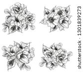 flowers set. collection of... | Shutterstock .eps vector #1301839273
