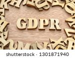 word gdpr made with wooden... | Shutterstock . vector #1301871940