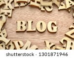 word blog made with wooden... | Shutterstock . vector #1301871946