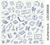 freehand drawing school items... | Shutterstock .eps vector #130188008