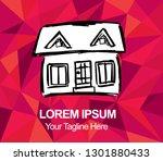 vector illustration red polygon ... | Shutterstock .eps vector #1301880433