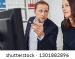 man showing something on... | Shutterstock . vector #1301882896