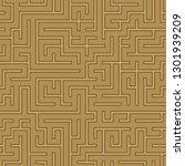 seamless abstract complex maze  ... | Shutterstock . vector #1301939209