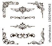 ornaments elements floral retro ... | Shutterstock .eps vector #1301940043