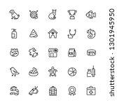 pet outline icon set. editable... | Shutterstock .eps vector #1301945950